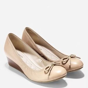 Cole Haan tali grand wedge bow low heel leather
